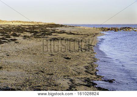 Beach in Fairhaven Massachusetts overlooking Buzzards Bay