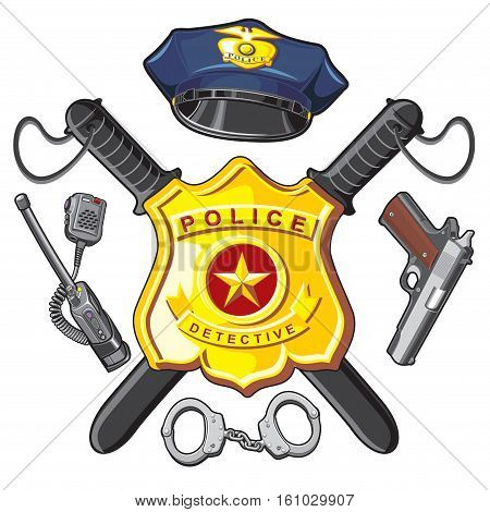 Police Symbols- metal badge, crossbones batons, firearm and handcuffs