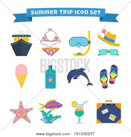 Set of summer trip icons: cruise ship swimming suit diving mask hat sunglasses sunscreen flip-flops travel bag dolphin and other.
