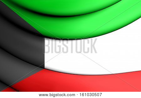 3D Flag Of The Kuwait. 3D Illustration.