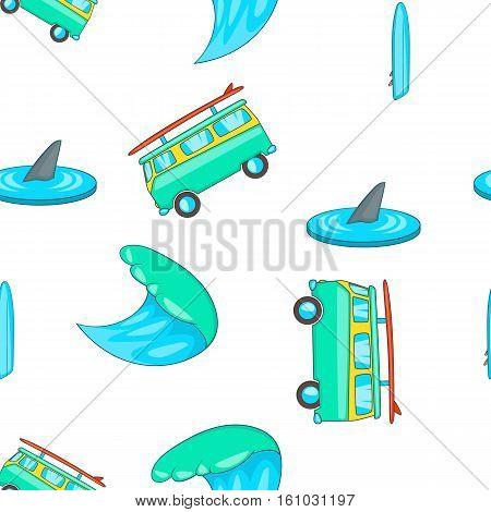 Surfing pattern. Cartoon illustration of surfing vector pattern for web design