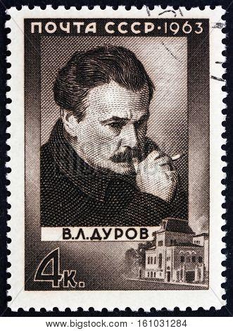 RUSSIA - CIRCA 1963: a stamp printed in Russia shows V. L. Durov Circus Clown Portrait circa 1963