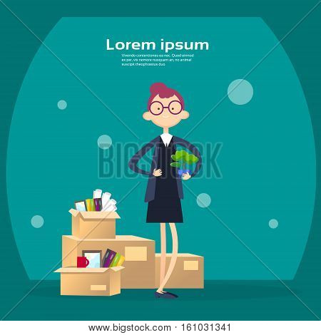 Business Woman Box With Office Stuff Recruitment New Job Position Vacancy Flat Vector Illustration