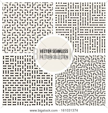 Set of Four Vector Seamless Black and White Irregular Geometric Lines Pattern Collection