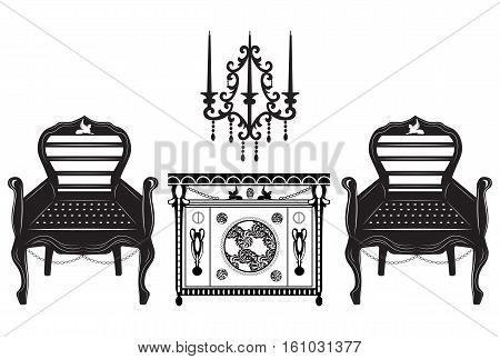 Classic biedermeier style furniture set. Chair and table with rich ornaments. English carved ornaments structure. Vector Vintage exquisite Style
