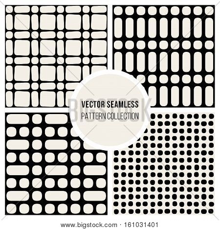 Set od Four Vector Seamless Black and Wite Geometric Pattern Collection Tiling Background