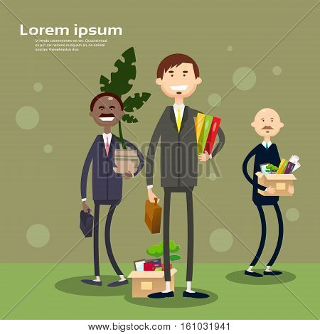 Business Man Group Hold Box With Office Stuff Recruitment New Job Position Vacancy Flat Vector Illustration