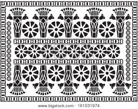 Greek pattern ornament. Ancient Hellenic decor. Vector antique meander borders