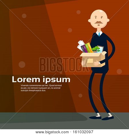 Business Man Hold Box With Office Stuff Recruitment New Job Position Vacancy Flat Vector Illustration