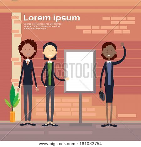 Ethnic Business Woman Group With Flip Chart Seminar Training Conference Brainstorming Presentation Mix Race Businesswoman Flat Vector Illustration
