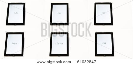 Six Ipads Displaying The Welcolme Message Hello