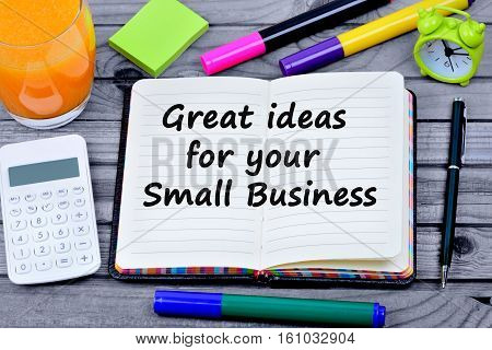 Great idea for your small business words on notebook