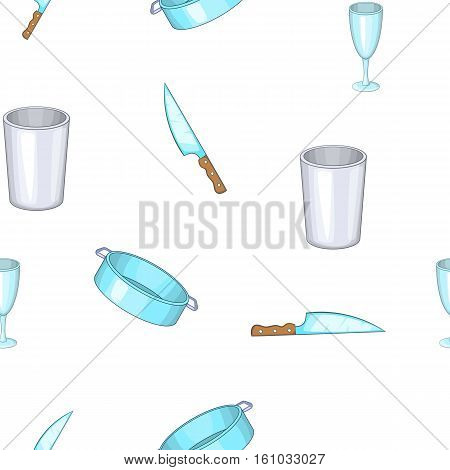 Kitchenware pattern. Cartoon illustration of kitchenware vector pattern for web design