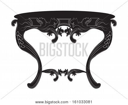Rich Baroque commode Table. French Luxury rich carved ornaments decorated furniture. Vector Victorian Royal Style structure