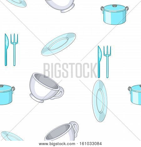 Tableware pattern. Cartoon illustration of tableware vector pattern for web design