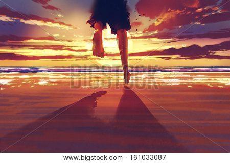 man feet running on the beach at sunrise, illustration painting