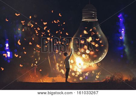 man and big bulb with glowing butterflies inside, illustration painting