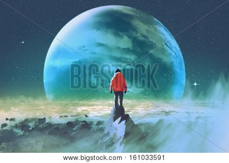 man on top of mountain looking at another planet, illustration painting