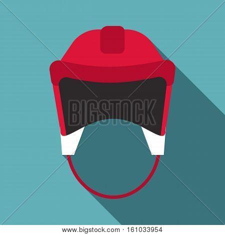 Red hockey helmet icon. Flat illustration of red hockey helmet vector icon for web design