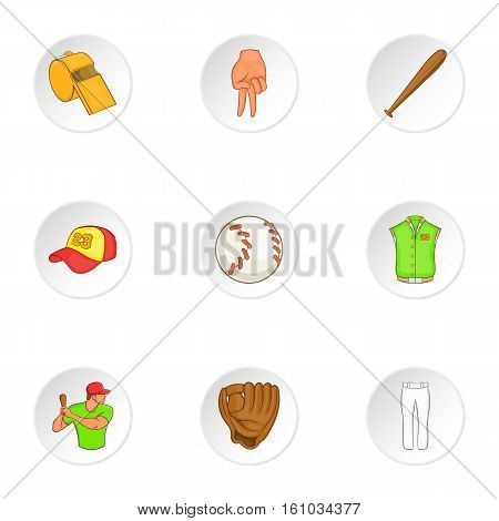 Sport with bat icons set. Cartoon illustration of 9 sport with bat vector icons for web