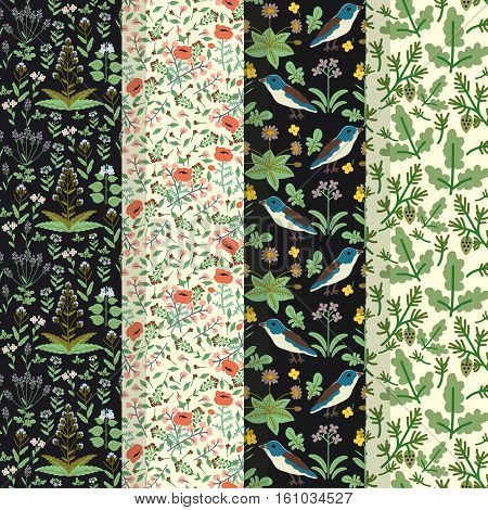 Seamless patterns with decorative flowers and birds