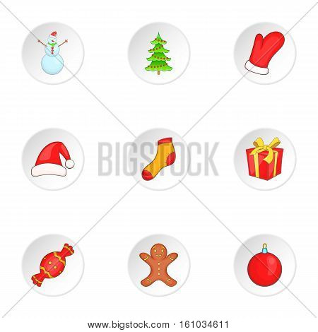 New year icons set. Cartoon illustration of 9 new year vector icons for web