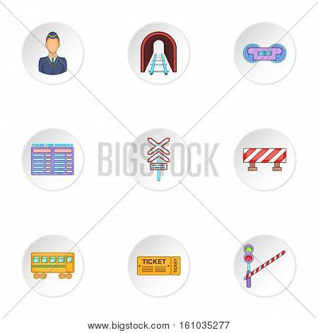 Train icons set. Cartoon illustration of 9 train vector icons for web