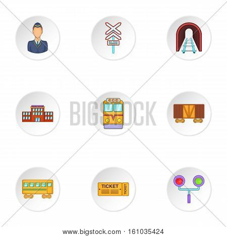 Electrical train icons set. Cartoon illustration of 9 electrical train vector icons for web
