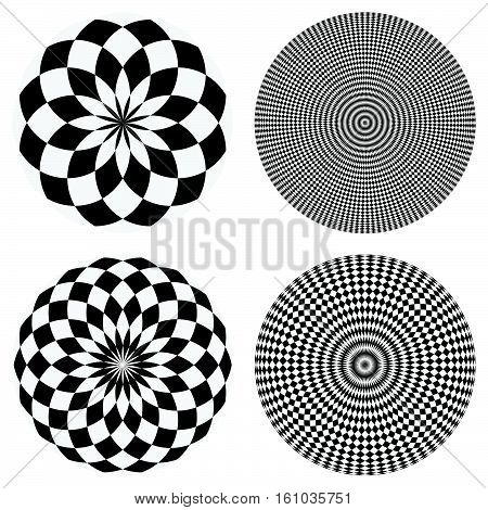 Elements With Checkered Marble-like Circular Pattern. Concentric Chequered Textures