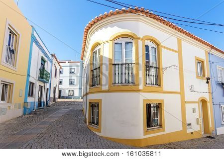 Vintage traditional houses and streets of the town Sines. Portugal