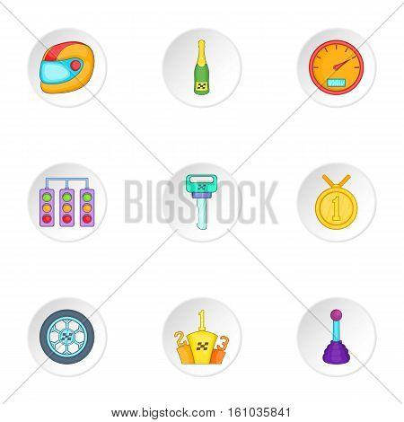 Racing accessories icons set. Cartoon illustration of 9 racing accessories vector icons for web