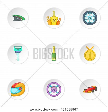 Racing and competition icons set. Cartoon illustration of 9 racing and competition vector icons for web