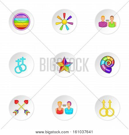 Culture LGBT icons set. Cartoon illustration of 9 culture LGBT vector icons for web