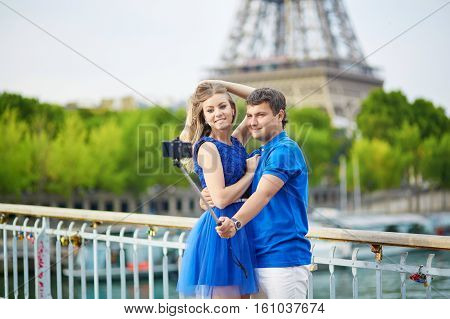 Beautiful Young Dating Couple In Paris Making Selfie