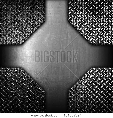 metal design with diamond plate background