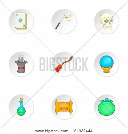 Witchery icons set. Cartoon illustration of 9 witchery vector icons for web