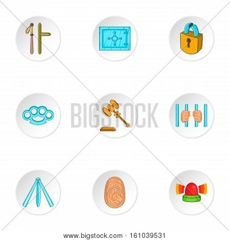 Offense icons set. Cartoon illustration of 9 offense vector icons for web