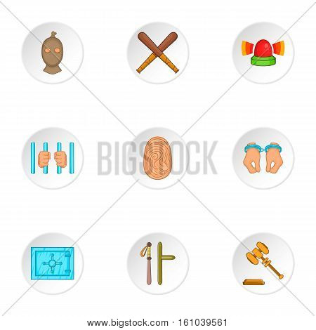 Illegal action icons set. Cartoon illustration of 9 illegal action vector icons for web