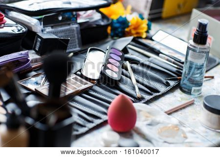 loseup of the makeup and brushes for professional makeup