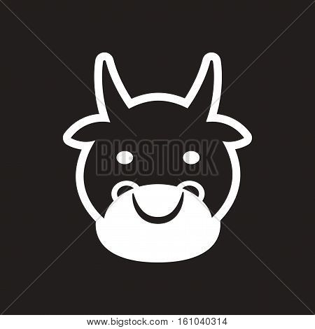 stylish black and white icon Indian cow