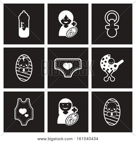 assembly stylish black and white icons motherhood