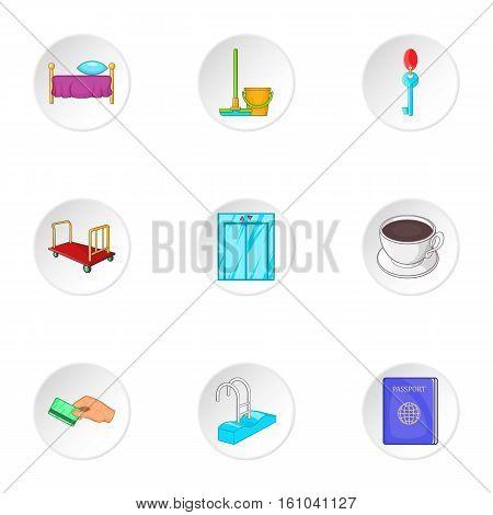 Hostel icons set. Cartoon illustration of 9 hostel vector icons for web