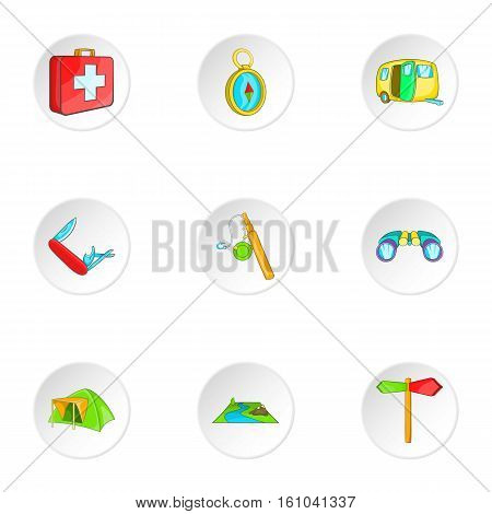 Encampment icons set. Cartoon illustration of 9 encampment vector icons for web