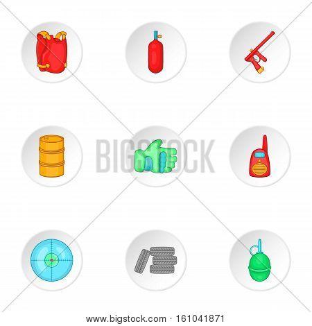 Shooting paintball icons set. Cartoon illustration of 9 shooting paintball vector icons for web