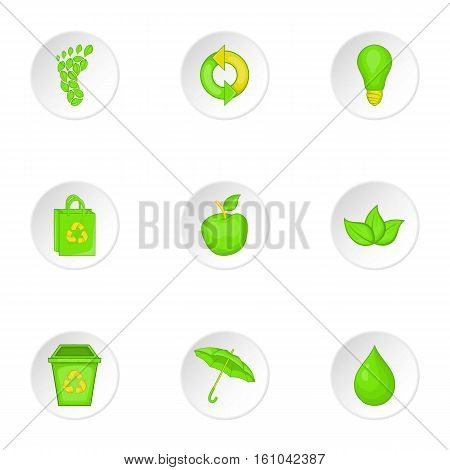Conservation icons set. Cartoon illustration of 9 conservation vector icons for web