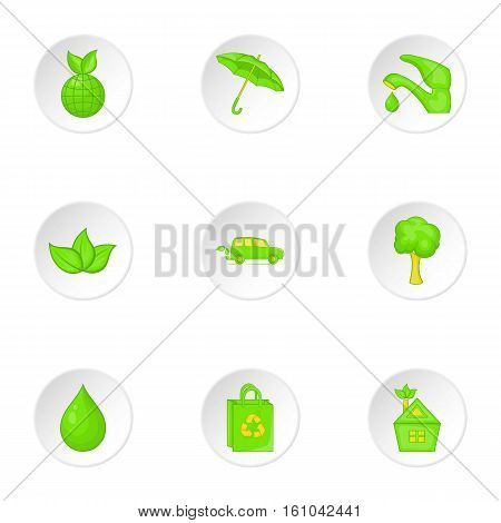 Environment icons set. Cartoon illustration of 9 environment vector icons for web