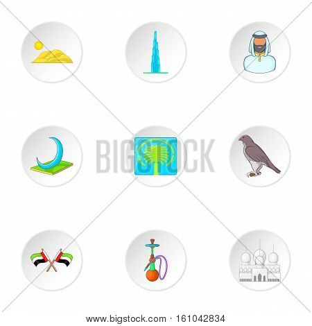 Tourism in UAE icons set. Cartoon illustration of 9 tourism in UAE vector icons for web