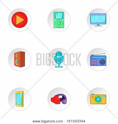 Electronic gadget icons set. Cartoon illustration of 9 electronic gadget vector icons for web