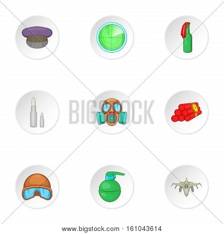 Military weapons icons set. Cartoon illustration of 9 military weapons vector icons for web