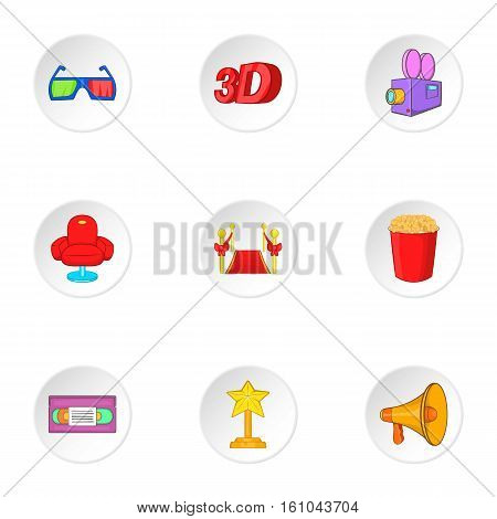Motion picture icons set. Cartoon illustration of 9 motion picture vector icons for web